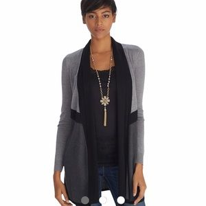 WHBM Long Sleeve Drapey Two Tone Cover Up Small